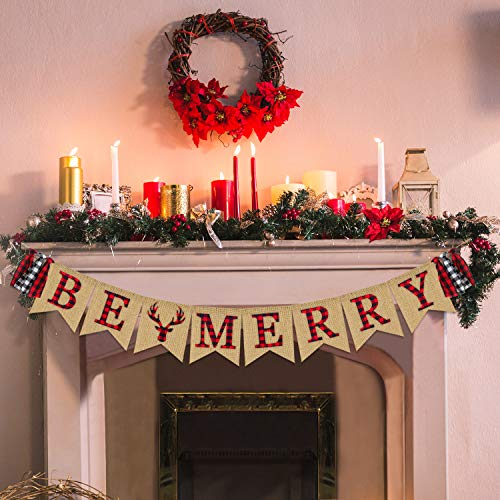Be Merry Banner | Christmas Banner Burlap | Christmas Decorations | Holiday Decor | Rustic Christmas Decorations for Mantle Fireplace | Xmas Party Supplies Decoration | Outdoor Indoor Hanging Decor