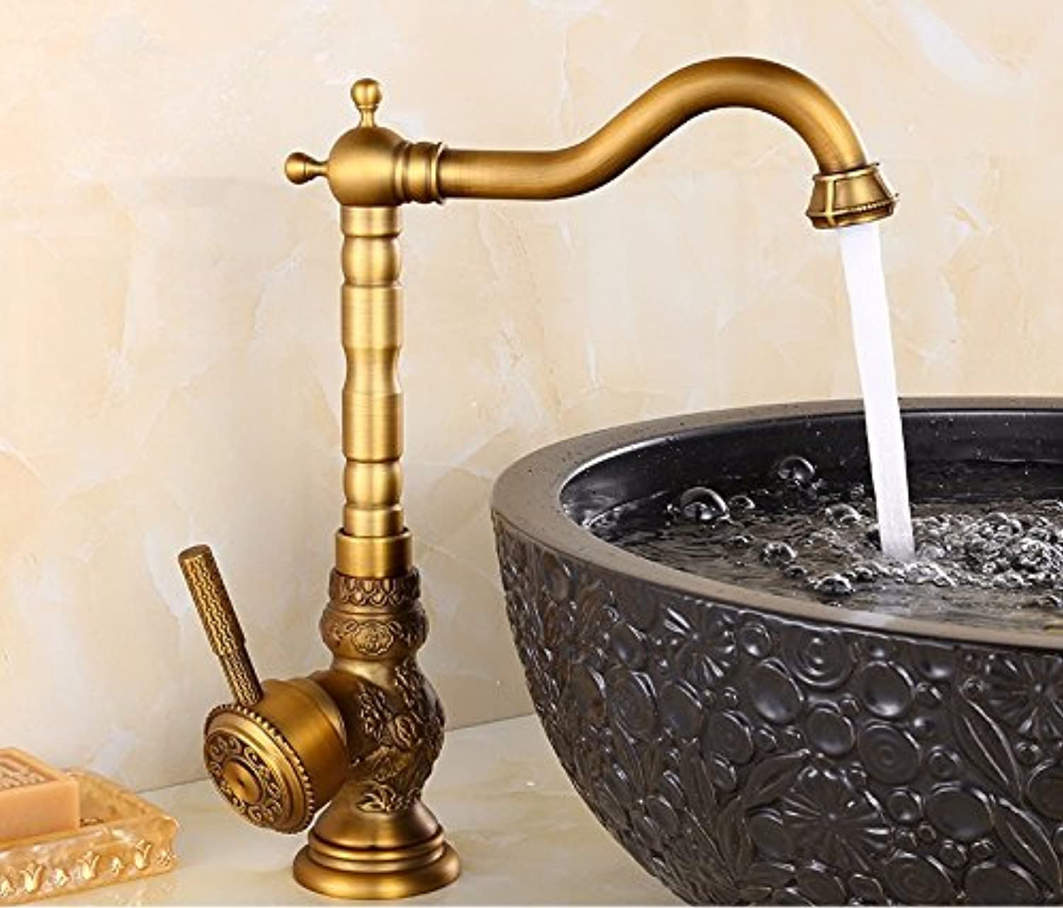 LHbox Basin Mixer Tap Bathroom Sink Faucet Antique faucet hot and cold full copper carved basin, high)