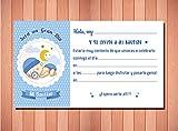 Invitaciones y Recordatorios para Bautizo Niño - Originales y Elegantes - (Pack 12 invitaciones + 12 sobres)