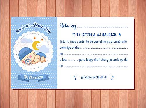 Invitaciones y Recordatorios para Bautizo Niño - Originales y Elegantes - (Pack 20 invitaciones + 20 sobres)