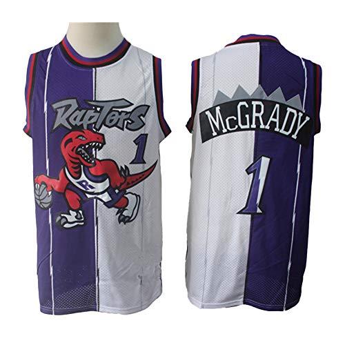 Camisetas De Baloncesto para Hombre, Toronto Raptors # 1 McGrady Jersey Camiseta De Baloncesto Transpirable Camiseta De Uniforme Sin Mangas De Baloncesto Retro,Purple White,XL