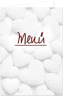 10unidades blancas Corazones Rojo Texto vacías en blanco menú Tarjetas llano tarjeta para escribir y Imprimir, A5pie geklappt y A4para la Impresora, mesa decorativa para todos los fija
