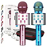 mockins 2 Pack Blue & Purple Wireless Bluetooth Karaoke Microphones with Built in Bluetooth Speaker All-in-One Karaoke Machine | Compatible with Android & iOS iPhone