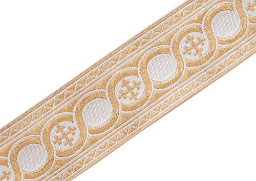 21/4' Wide White on Gold Jacquard Vestment Trim Cross in Celtic Scroll 3 Yards