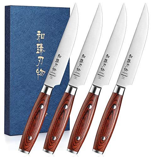 HEZHEN Set di 4 coltelli da bistecca da 12,8 cm, lama non seghettata con lama affilata, in acciaio inox con elevato contenuto di carbonio, manico in legno colorato, lunga durata, in confezione regalo