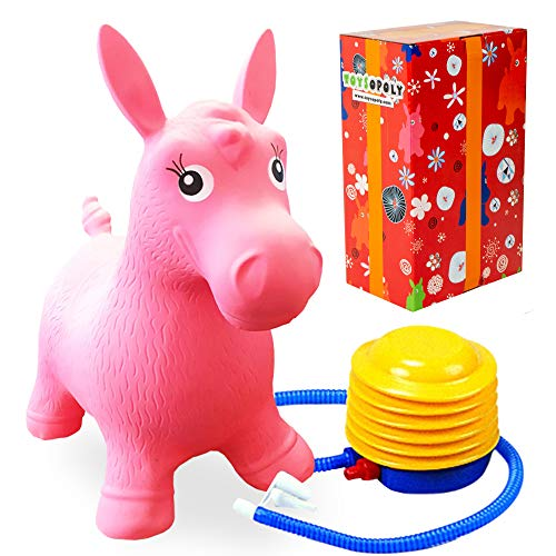 Premium Inflatable Horse Hopper – Best Animal Bouncer Ride-On Toy for Kids, Boys, Girls and Children 2, 3, 4, 5. Play Hopping Toys. Free Foot Pump + Gift Box