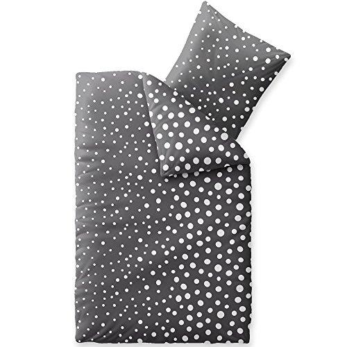 CelinaTex Touchme Bettwäsche 200 x 200 cm 3teilig Baumwolle Bettbezug Biber Tessa Punkte grau weiß