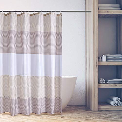 Uttermara Fabric Shower Curtain with 12 Curtain Hooks for Bathroom Polyester Waterproof, 72 x 72 Inches, Brown and Beige