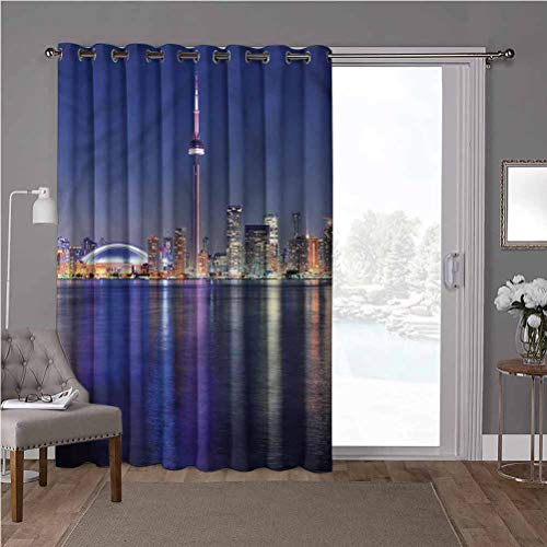 YUAZHOQI Soundproof Room Divider Curtains, Blue,Canada Toronto Sunset North, W100 x L108 Inch Home Decor Modern for Kids Nursery(1 Panel)