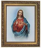 Gerffert Collection Sacred Heart of Jesus Christ Framed Portrait Print, 13 Inch (Ornate Gold Tone Finish Frame) [並行輸入品]