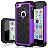 iPhone 5C Case, iPhone 5C Cover, Jeylly Shock Absorbing Hard Plastic Outer + Rubber Silicone Inner Scratch Defender Bumper Rugged Hard Case Cover for iPhone 5C - Purple