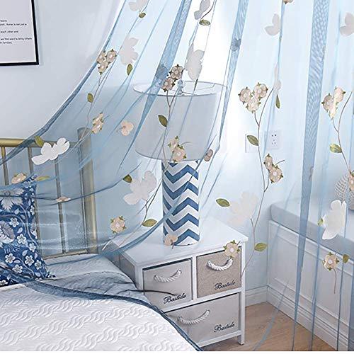 HM&DX Bestickt Fenster Vorhang,lichtfilterung Transparent Voile Gardinen Lange,schönheit Dekorative Tüll-vorhänge Wohnzimmer Schlafzimmer Blau Ösen 150x260cm(59x102in)