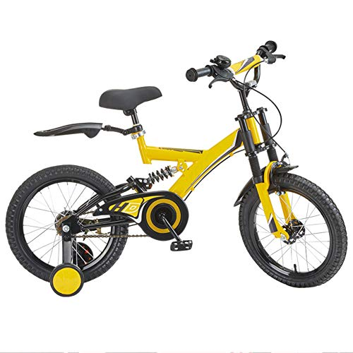 QAZWSX Kids' Bikes, with Stabilisers Folding Bikes Unisex Children's with Training Wheels Bicycle Carriage 14 Inch Pupils Mountain Bike Double Shock Absorption Children Bicycle,Yellow