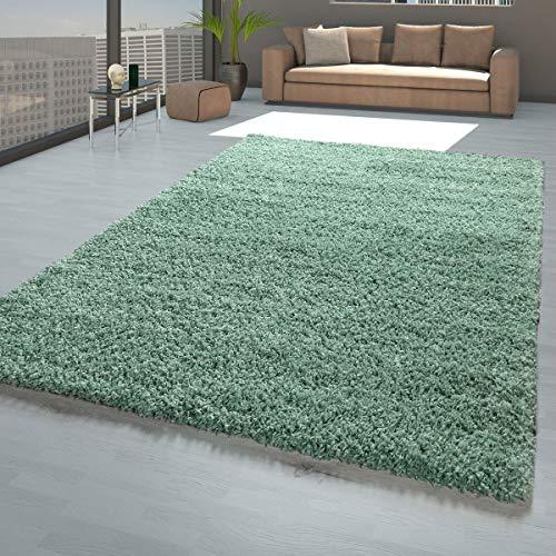 TT Home Alfombra Shaggy de pelo largo verde para salón, suave, resistente, resistente, tamaño: 160 x 220 cm