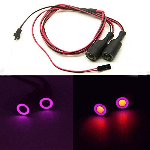 AXspeed 13mm 2Lights Engel Eyes & Demon Eyes Light Scheinwerfer Rücklicht für 1/10 RC Auto (Lila + Gelb)