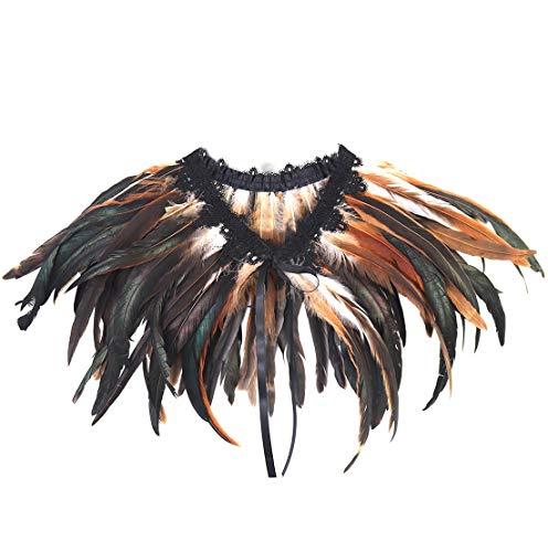 Keland - Bufanda para mujer, diseño de plumas naturales, color negro marrón Talla única