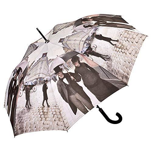 VON LILIENFELD Regenschirm Auf-Automatik Damen Herren Kunst Motiv Stockschirm Stabil Gustave Caillebotte: Paris im Regen