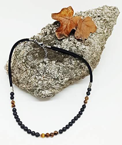 Collar de piedra natural, collar de hombre, collar corto de chico, collar Ojo de Tigre, regalo único.