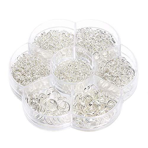 1 caja/1450 piezas hierro abierto anillos de salto conectores para manualidades pendientes pulseras collares joyas hallazgos llavero accesorios 3 mm 4 mm 5 mm 6 mm 7 mm 8 mm 10 mm (chapado en
