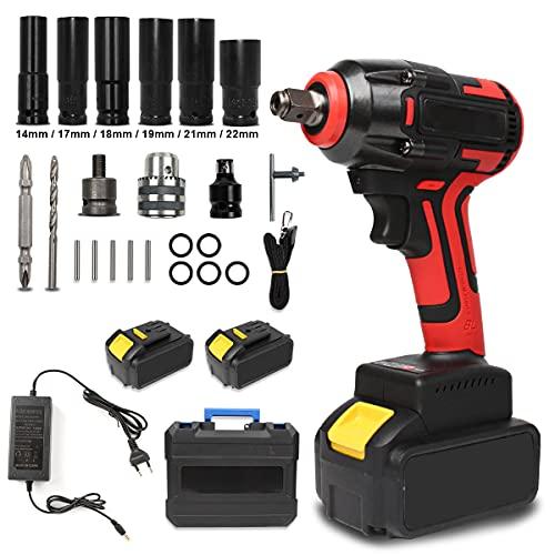 Atornillador de impacto con batería, 520 Nm, 18 V, accionamiento cuadrado de 1/2 pulgadas (2 pilas)