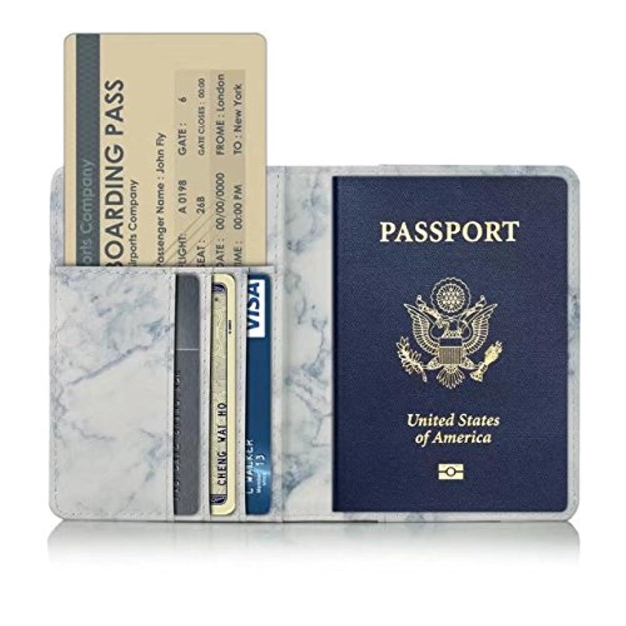 余分なエージェントネストパスポート カバー レザー ケース 大理石柄 マット素材 グレーマーブル ホルダー トラベル カード チケット 収納 ウォレット 多機能収納ポケット 名刺 クレジットカード 航空券 エアチケット カラー