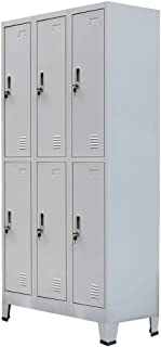 vidaXL Armoire à Casiers 6 Compartiments Acier Gris Meuble Armoire-fichier