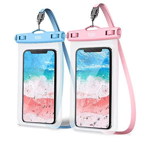 YOSH 2021 7'' Funda Impermeable Móvil IPX8 Universal 2 Unidades, Bolsa para Móvil Estanca a Prueba de Agua para iPhone 12 Pro MAX 11 XR XS X 8 7 Samsung S20 A70 A50 Xiaomi MI 9T Huawei (Azul & Rosado)