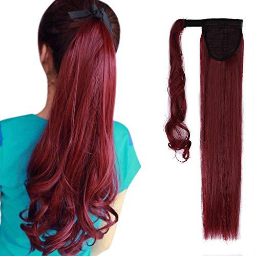 Pferdeschwanz Extensions Ponytail Haarteil Clip in Extensions wie Echthaar Zopf Glatt Kunsthaare günstig Haarverlängerung 23