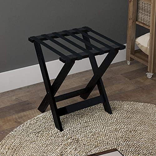 Riyyow Pieghevole portabagagli Portapacchi per portabagagli Camera Hotel Solid Legno Pieghevole Portagli Bagagli 600 * 450 * 500mm (Color : Black)