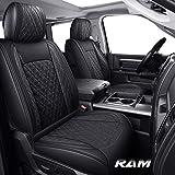 Yiertai Car Seat Covers Full Set Dodge Ram Custom Fit 2009-2021 1500 2010-2021 2500 3500 Pickup Truck Crew Double Quad Cab Waterproof Leather Laramie Big Long Horn Rebel Tradesman(Full Set, Black)