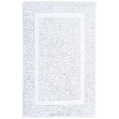 Pinzon Luxury 100% Cotton Banded Bath Mat - White