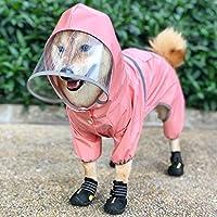 【今春花信】犬用レインコート 小中型犬 帽子付 リード穴 通気性 防水 軽量 可愛い 洗える ポンチョ レインウエア 雨合羽 カッパ 雨具 散歩用 お出かけ 梅雨対策 雨の日 ピンク S