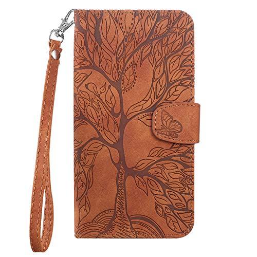 Aisenth - Funda para iPhone 6/iPhone 6S, diseño de árbol, piel, billetera, funda con tapa y carcasa interior de TPU, tarjetero, función atril, color marrón