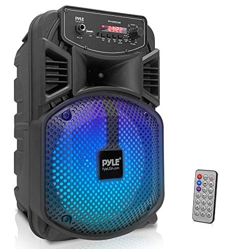 """Portable Bluetooth PA Speaker System - 300W Rechargeable Outdoor Bluetooth Speaker Portable PA System w/ 8"""" Subwoofer 1"""" Tweeter, Microphone in, Party Lights, MP3/USB, Radio, Remote - Pyle PPHP834B"""