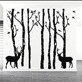 Vinilo adhesivo para pared de árbol negro, 7 Brich Bosque para sala de estar, niños, bebé, guardería, vinilo extraíble, decoración del hogar, 210 x 180 cm