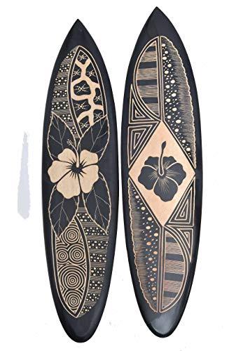 Interlifestyle 2 Tiki dekorativa surfbrädor gjorda av hårt trä 100 cm med hibiskusmotiv surfbräda Hawaii svart