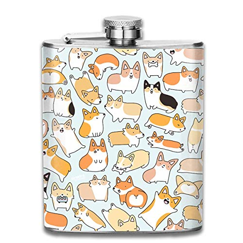 Stainless Steel Leak-Proof Hip Flask Cute Corgi Flagon Whiskey Container Flask Pocket for Unisex