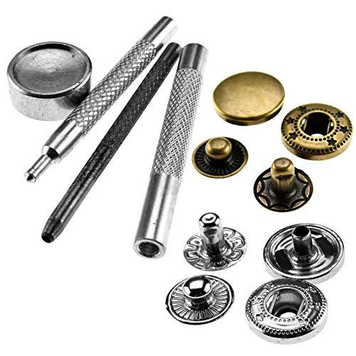 YINETTECH Botones a presión con kit de herramientas de fijación para cuero, chaqueta, abrigo, manualidades