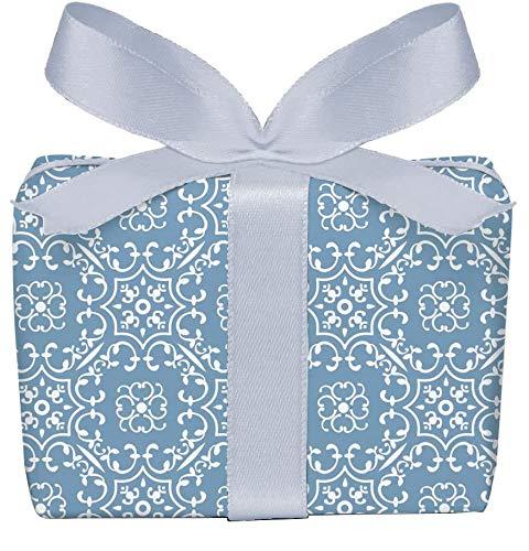 5er-Set Geschenkpapier Bögen UNIVERSAL in BLAU mit Ornamente zu jedem Anlass • Für Geburtstage, Hochzeit, Weihnachtsgeschenke, Adventskalender • Format : 50 x 70 cm
