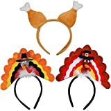 Thanksgiving 3pcs Turkey Drumstick Headband Combo Set for Holiday Costume Party Accessories Decorations