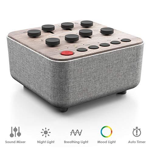 White Noise Machine, mit 8 beruhigenden Geräuschen und pulsierendem Licht zur Meditation, Entspannung oder als Einschlafhilfe. Tragbares Therapiegerät für Zuhause, im Büro oder auf Reisen. (Holz)