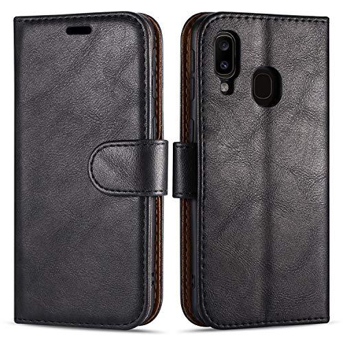 """Case Collection Hochwertige Leder hülle für Samsung Galaxy A20e Hülle (5,8"""") mit Kreditkarten, Geldfächern und Standfunktion für Samsung Galaxy A20e Hülle"""