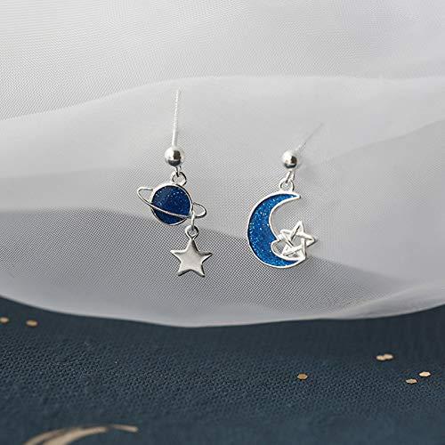 Earthily Pendientes estética, Pendientes de Gancho de la Estrella de la Luna, joyería Linda, Pendientes de Bohème Coloridos encantadores de Moda, Pendientes estéticos