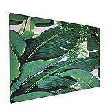 Olverz Cuadro abstracto de hojas de plátano para pared, marco moderno, impresión en lienzo, arte moderno enmarcado para pared, hogar y oficina, tamaño enmarcado 30,5 x 45,7 cm