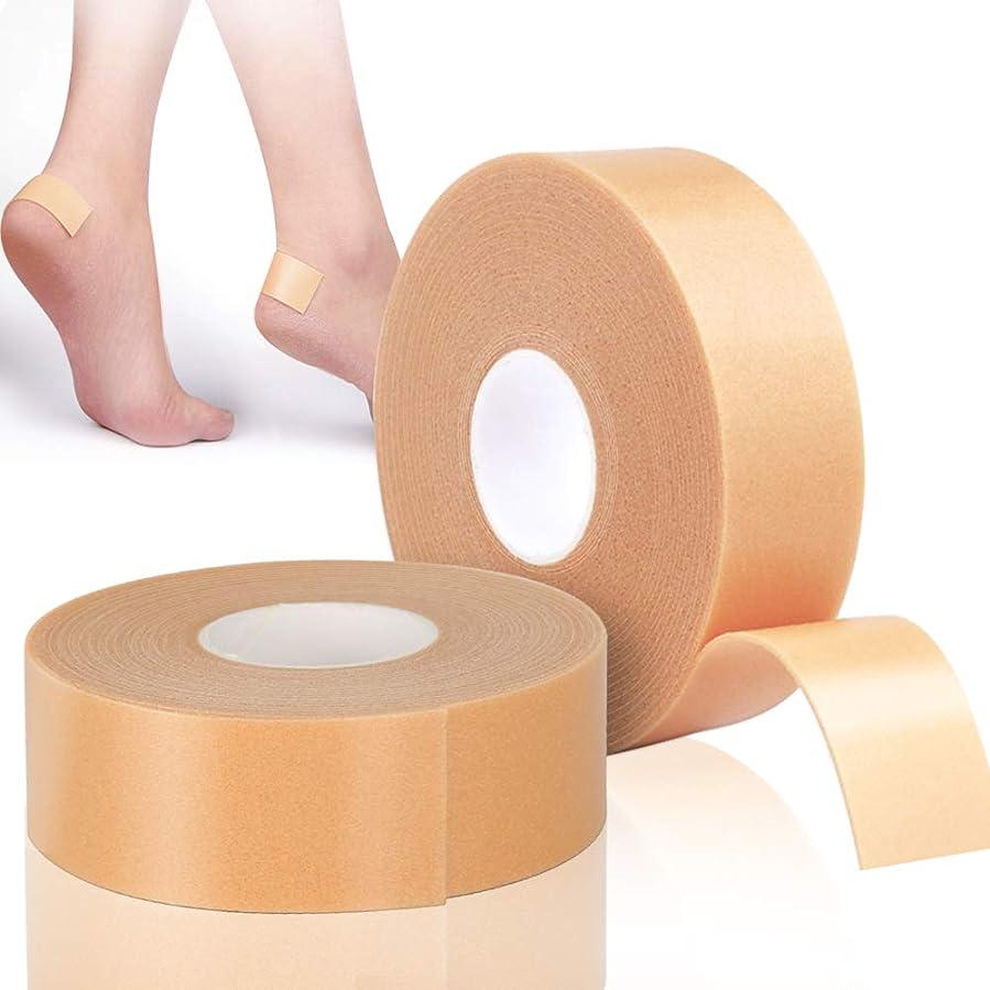 バウンド露出度の高い優先LEOBRO 靴ずれ保護テープ 靴擦れ防止 かかと保護 衝撃吸収保護パッド 【2巻入り】 2.5cm*5m 肌色 防水素材 強粘着 足首保護パッド 耐摩耗 かかと痛み緩和