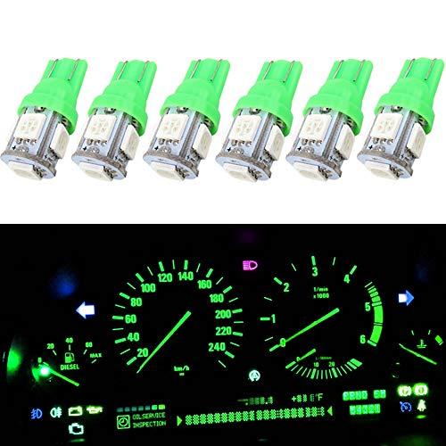 Wljh T10 168 ampoule LED 5050–5smd 194 2825 157 de remplacement de voiture Intérieur dôme Tableau de bord ampoules de lampe de courtoisie de plaque d'immatriculation (Vert, 6)