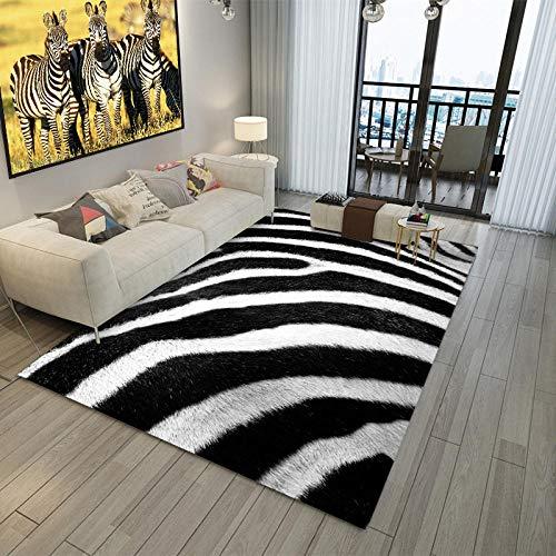 Simmia Home Alfombra De Salón Diseño Moderna Patrón Cebra Negro Blanco Rugs para Salón habitación Dormitorio Antideslizante Interior al Aire Libre, Tamaño: 80 * 160CM