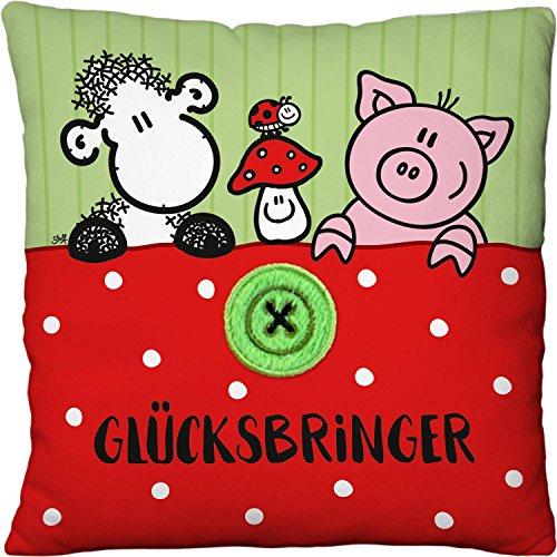 Sheepworld 45562 klein pluche kussen geluksbrenger, met schap, gelukspaddenstoel, varkentje en geborduurde knop, 22 cm x 22 cm sierkussen, 100% polyester, groen/wit/rood
