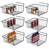 Under Shelf Basket, iSPECLE 6 Pack Black Wire Rack, Wire Basket Under Shelf for Storage, Easy to Install