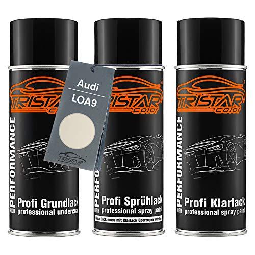 TRISTARcolor Autolack Spraydosen Set für Audi LOA9 Perlmuttweiss Metallic/Perlmutt Weiss Metallic Grundlack Basislack Klarlack Sprühdose 400ml